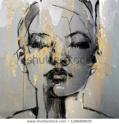 Foto d'archivio: Ritratto · donna · pittura · muro · lavoro · vernice