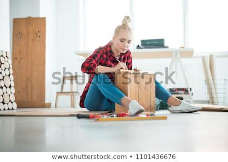 женщины дома стены работу металл Сток-фото © photography33