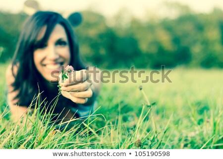 сидят луговой пейзаж молодые Сток-фото © photography33