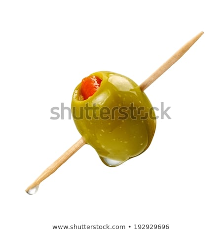 Rojo de oliva cóctel primer plano aceitunas vidrio Foto stock © gorgev
