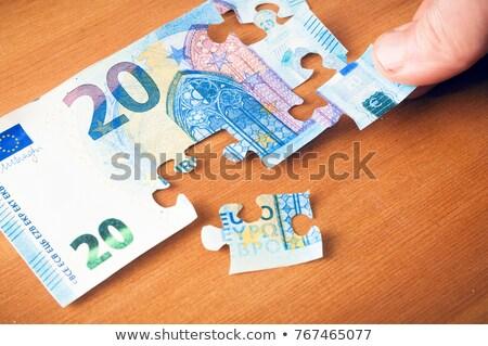 Handen puzzel uit geld euro crisis Stockfoto © vlad_star