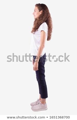 gündelik · kadın · ayakta · tam · uzunlukta · mutlu · genç - stok fotoğraf © feedough