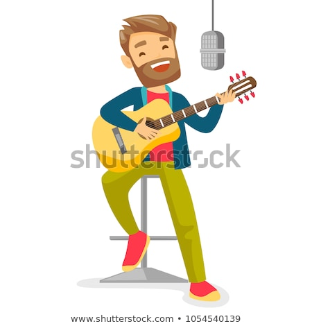 Cantante ilustración realizar música fiesta hombre Foto stock © vectomart