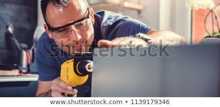 homem · proteger · madeira · metal · carpinteiro - foto stock © photography33