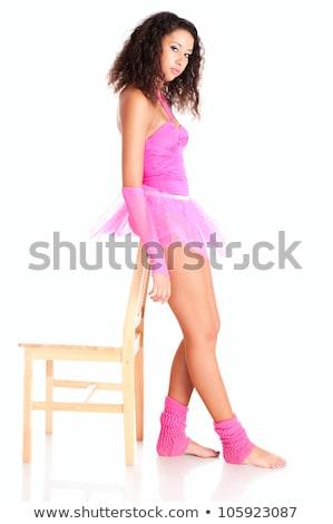 dansçı · siyah · kız · ayakta · yorgun · sandalye - stok fotoğraf © pekour