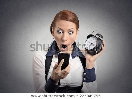 verwonderd · vrouw · kijken · wekker · witte · bed - stockfoto © CandyboxPhoto