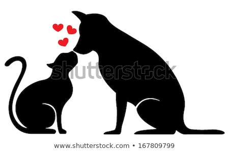 cat and dog in red heart, vector  Stock photo © beaubelle