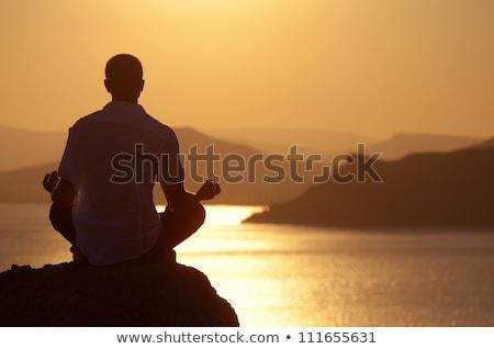 ストックフォト: 男 · 座って · 岩 · 蓮 · 位置 · 見える