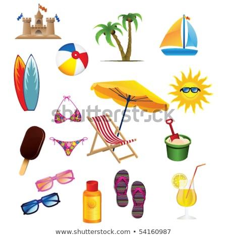 pálmafa · tenger · napernyő · szék · fa · absztrakt - stock fotó © yurkina