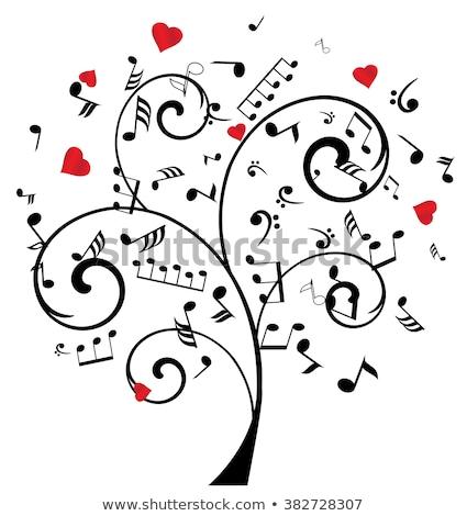 Música árvore corações nota símbolo vetor Foto stock © Hermione