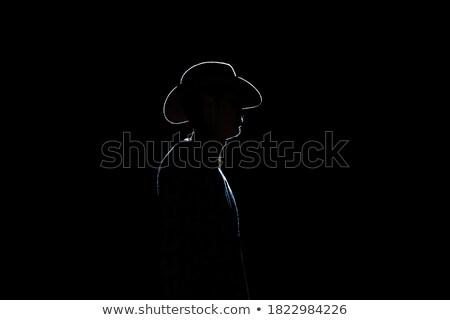 Fekete tini férfi fedora vonzó jóképű Stock fotó © piedmontphoto