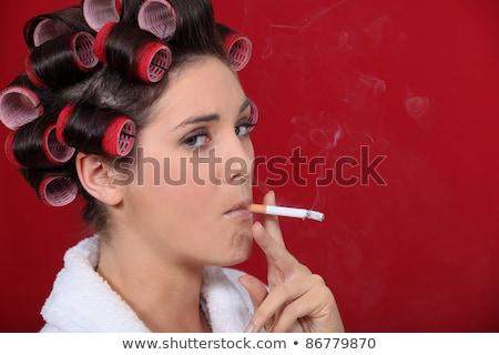 Kadın sigara içme saç el kırmızı zincir Stok fotoğraf © photography33