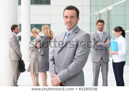 csapatépítés · modern · iroda · kilátás · fiatal · üzletemberek - stock fotó © photography33