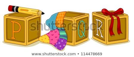 Stock photo: Wood Blocks PQR
