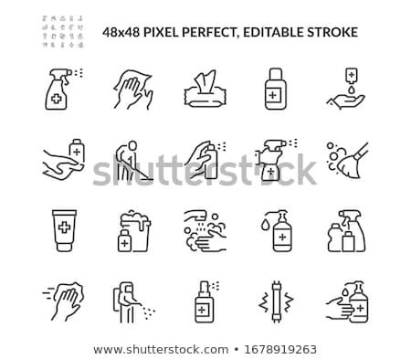 el · sprey · şişe · sarı · eldiven - stok fotoğraf © stocksnapper