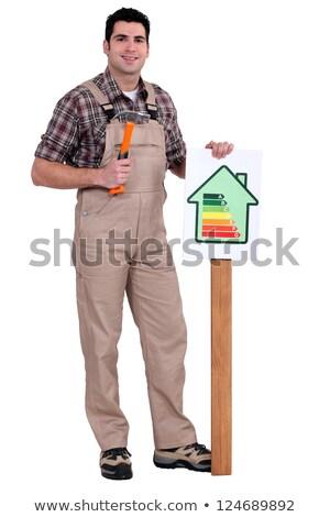Ambachtsman energie verbruik label gebouw werk Stockfoto © photography33