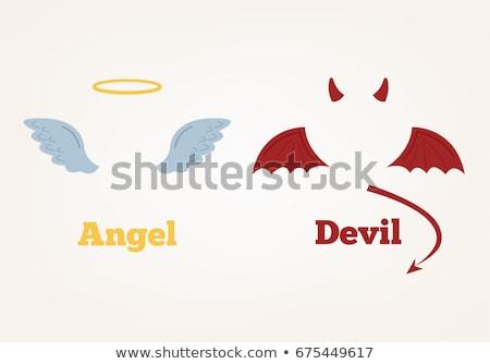 ストックフォト: 悪魔 · 天使 · セット · かわいい · 漫画 · 幸せ