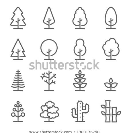 Fa ikon zöld fa fű levél felirat Stock fotó © WaD