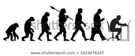 evolúció · absztrakt · vonal · férfi · majom · sziluett - stock fotó © oorka