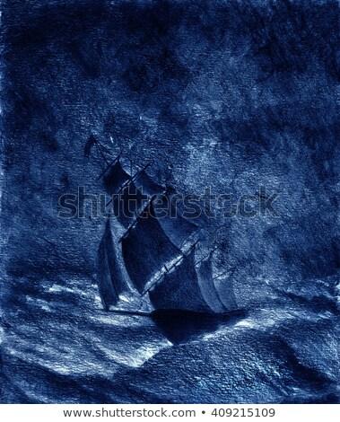 Veleiro luar marinha rochas lua cheia estrelas Foto stock © ankarb