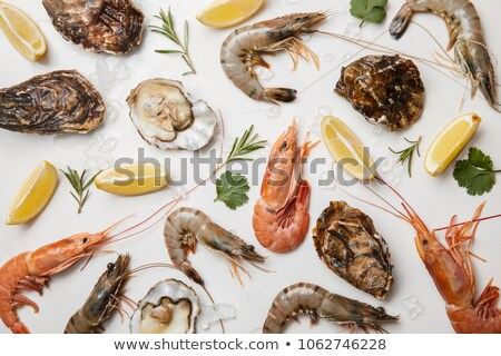 shrimps with oysters in white dish stock photo © fiphoto
