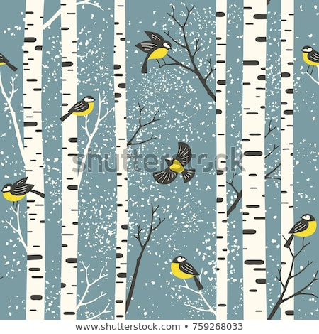 seamless background pattern tree with birds vector nature illustration stock photo © hermione