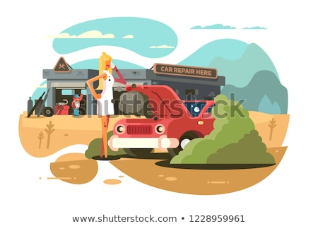 Stock photo: Car breakdown - woman calling auto service help