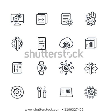 építkezés · majom · illusztráció · védősisak · számítógép · kalapács - stock fotó © cteconsulting