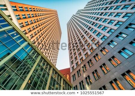 Dwa wieżowce jeden wygląd miasta okno Zdjęcia stock © eldadcarin