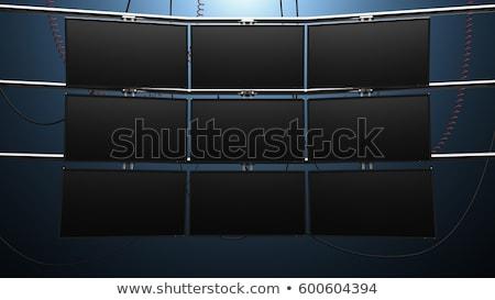 multimídia · monitor · parede · grande · tela · colorido - foto stock © Anterovium
