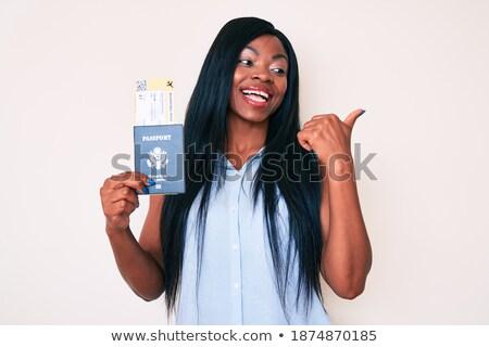 nyitva · útlevél · oldalak · különböző · bevándorlás · bélyegek - stock fotó © kuligssen