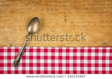 kockás · asztalterítő · fotó · lövés · kék · textúra - stock fotó © zerbor