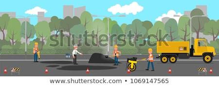 jackhammer working on the road stock photo © vwalakte