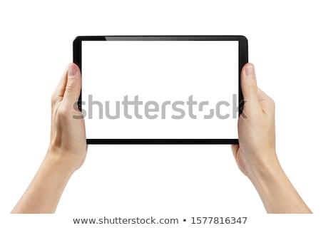 Touch таблетка рук деловой человек серый Мир карта Сток-фото © matteobragaglio