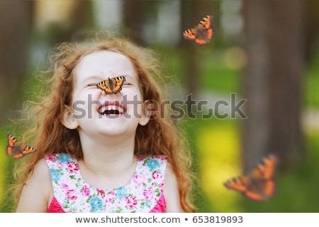 Mariposa nina tímido dulce oro alas Foto stock © Allegro