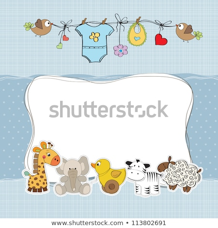 childish card with cute cow toy Stock photo © balasoiu