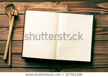 edad · receta · libro · mesa · de · madera · alimentos · madera - foto stock © jirkaejc