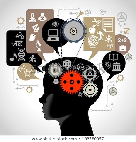 Pszichológia oktatás piros felirat könyvek polc Stock fotó © tashatuvango