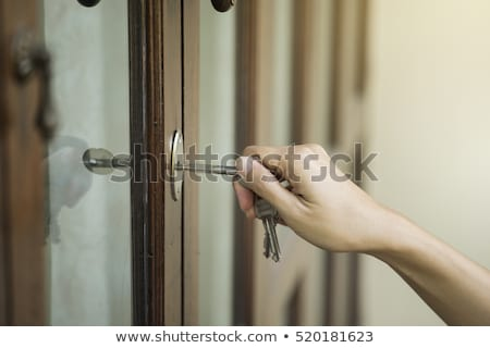 female hand putting house key into door lock stock photo © tab62