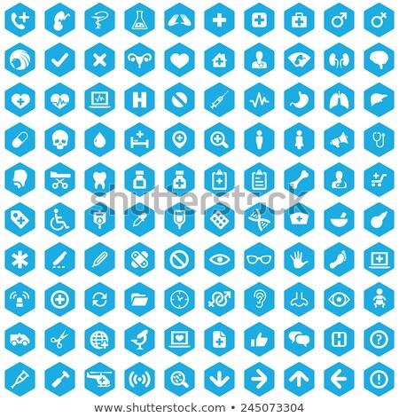 Zdjęcia stock: Mikroskopem · ikona · niebieski · arrow · szary · nauki