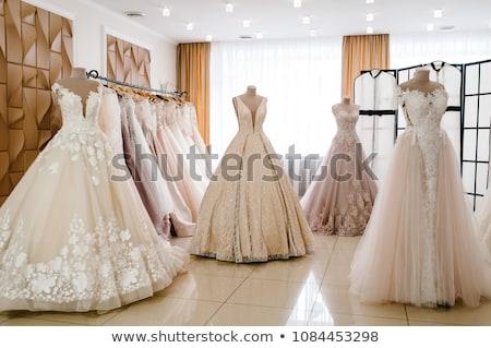 menyasszony · gyönyörű · esküvői · ruha · fehér · szoba · nő - stock fotó © gsermek