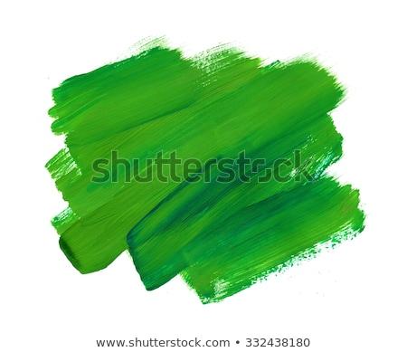 Stockfoto: Groene · penseel · verf · papier · houten · tafel · Blauw