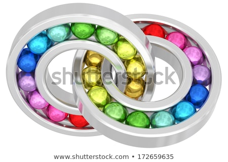 Bearings With Colorful Balls Chained Together Isolated On White Photo stock © oneo