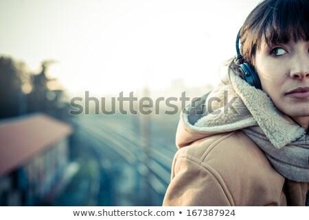 Sonhador música menina retrato belo mulher Foto stock © lithian