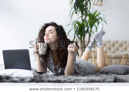 woman on sofa in white underwear Stock photo © ssuaphoto