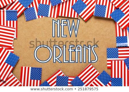 New · Orleans · zászló · izolált · vágási · körvonal · felhők · város - stock fotó © bosphorus