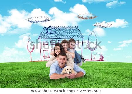 huis · dromen · jonge · vrouw · gazon · nieuw · huis - stockfoto © cherezoff