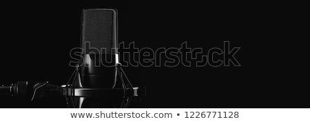 siyah · mikrofon · mavi · eğim · teknoloji · ses - stok fotoğraf © diabluses
