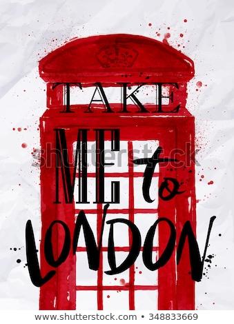 Esboço Londres telefone cabine vetor vintage Foto stock © kali