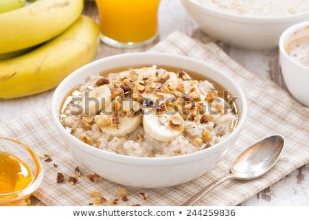 Kása banán étel fa konyha tej Stock fotó © yelenayemchuk